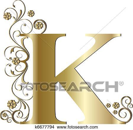 Capital Letter K Gold Stock Illustration
