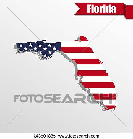 Florida State Map.Clipart Of Florida State Map With Us Flag Inside And Ribbon