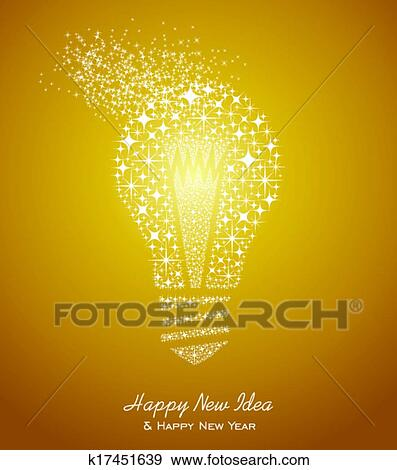 Happy New Year And Ideas 2014 Greeting Card Clip Art K17451639 Fotosearch