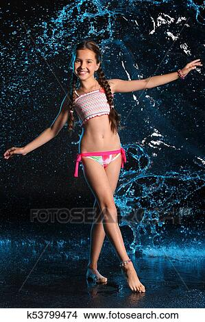 stock photo of happy slender preteen girl in a bikini happy girl clip art images happy girl clipart black and white