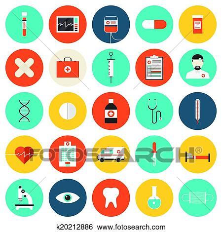 Clip Art Of Medical And Healthcare Flat Icons Set K20212886 Search
