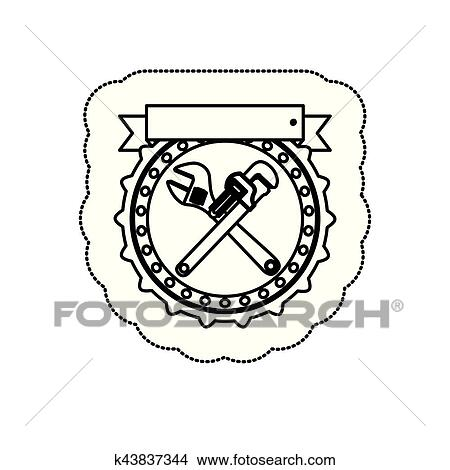 Monochrome Silhouette Sticker With Circular Frame With Crossed