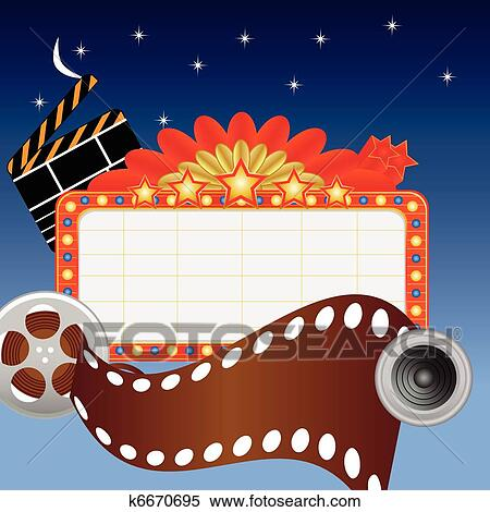 Clipart Of Neon Theater Sign And Media Items K6670695