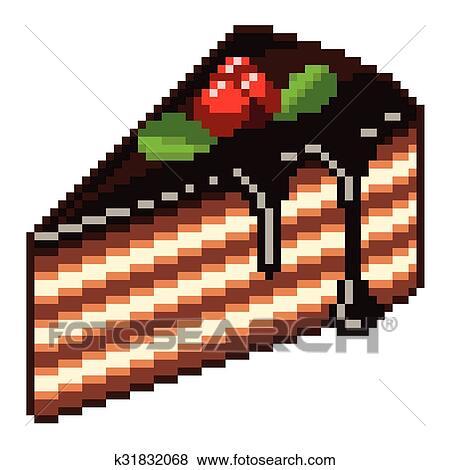 Pixel Morceau Gâteau Isolé Vecteur Clipart