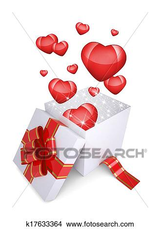 Drawings Of Red Hearts Fly Out An Open Gift Box K17633364