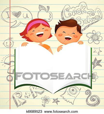 تراجع إلى المدرسة الأطفال ب كتاب مفتوح Clipart K6689523 Fotosearch
