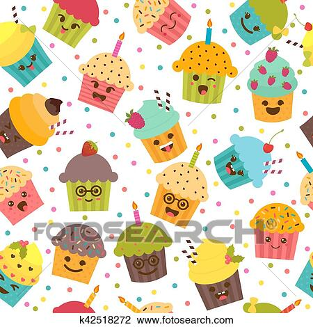 Birthday Background Seamless Pattern With Cupcakes And Muffins Cute Cartoon Characters Emoji Kawaii Vector Illustration