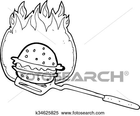 Black And White Cartoon Cooking Burger Clipart K34625825 Fotosearch