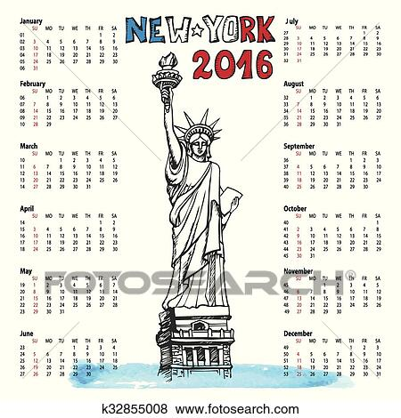 clip art calendarnew yearnew york doodlestatue of liberty