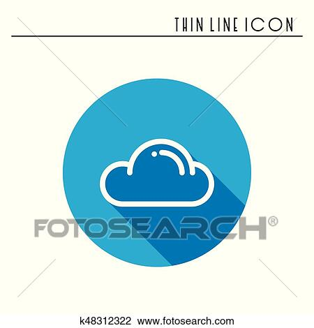 Cloud, sky, heaven, line simple icon  Weather symbols  Meteorology   Forecast design element  Template for mobile app, web and widgets  Vector  linear