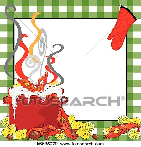 clip art of crawfish boil invitation k6685079 search clipart rh fotosearch com crawfish boil clip art free crawfish boil clipart
