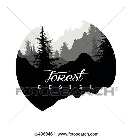 Floresta Logotipo Desenho Paisagem Natureza Com Silhuetas De árvores E Montanhas Natural Cena ícone Em Geomãricas Redondo Dado