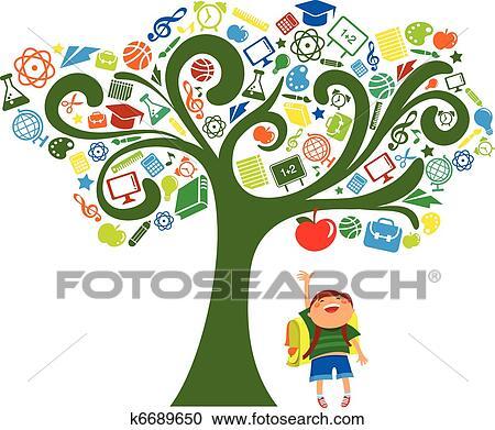 Clipart indietro scuola albero con educazione for Scuola clipart