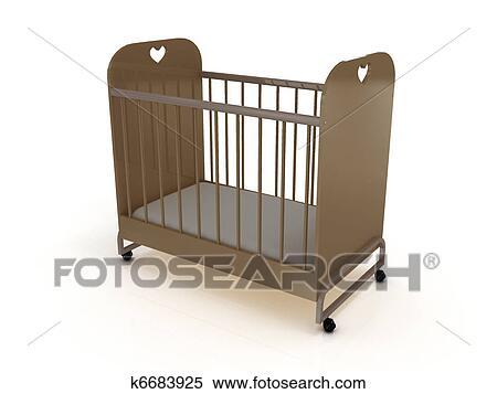 Stock Illustration Kinderbett Rädern Mit A Matratze K6683925