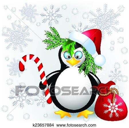 Christmas Candy Clipart.Penguin With Christmas Candy Clipart