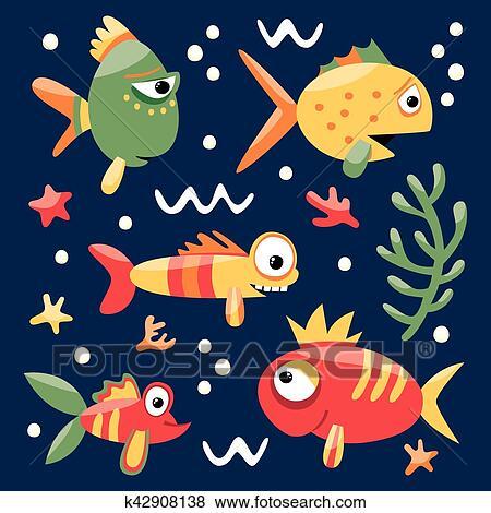Clip Art Pesci E Alghe K42908138 Cerca Clipart Poster