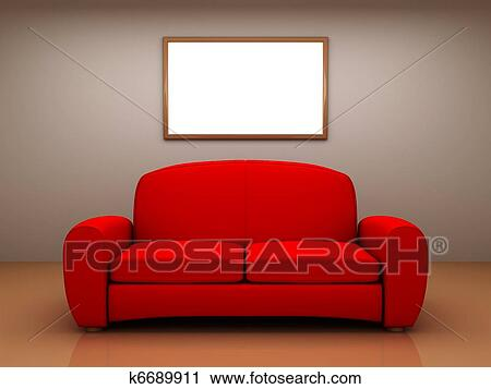Clipart Of Red Sofa In A Room With A Blank Picture K6689911 Search