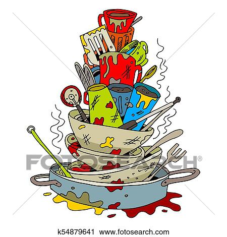 clipart of stack of dirty dishes k54879641 search clip art rh fotosearch com dirty dishes clip art free dirty dishes clip art free