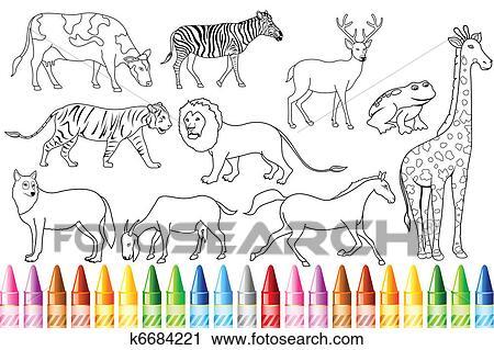 Clipart - tier farbe, buch k6684221 - Suche Clip Art, Illustration ...
