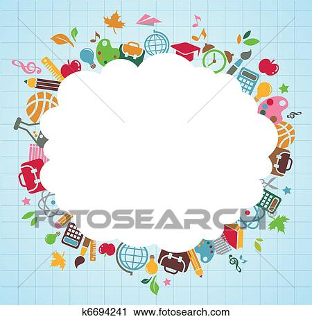 Clipart of back to school - background with education icons k6694241 ...