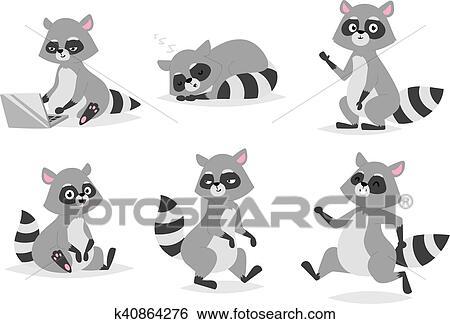 clip art of cartoon raccoon vector illustration k40864276 search