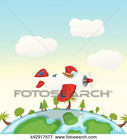 Cartoon Red And White Airplane Flying Clip Art K42917577