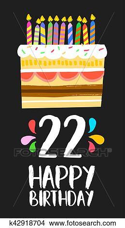 Clipart Gelukkige Verjaardag Taart Kaart 20 Twintig Twee