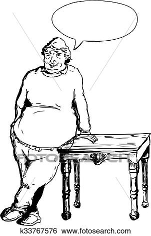 Stock Illustration Of Happy Man Leaning On Table K33767576
