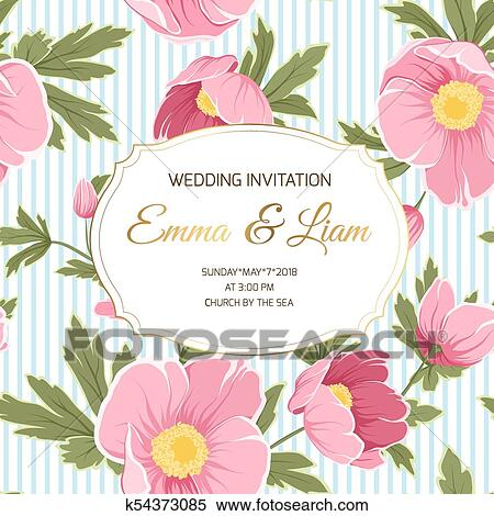 Clipart Hochzeitskarten Anemone Schneerose Pfingstrose Blumen