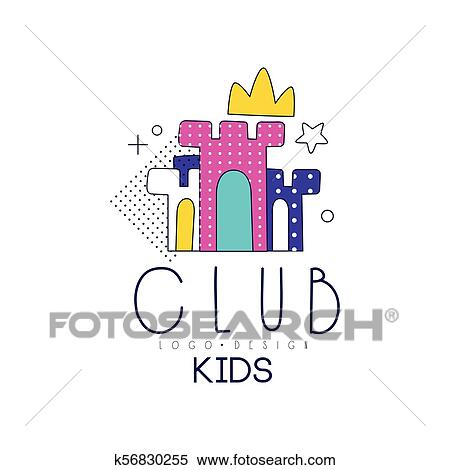 Kids Club Logo Design Element For Development Educational Or
