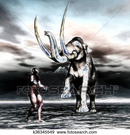 Mammut con uomo preistorico archivio illustrazioni k36345549