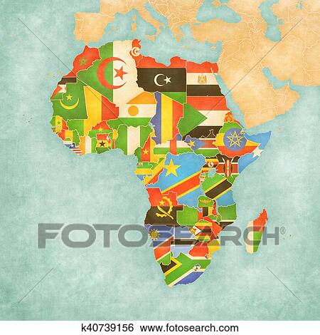 Map Of Africa With Flags.Stock Illustration Of Map Of Africa Flags Of All Countries