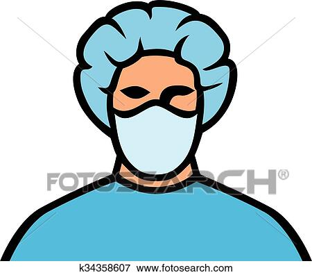 clip art of medical doctor in surgical mask k34358607 search rh fotosearch com surgery clipart black and white surgeon clip art