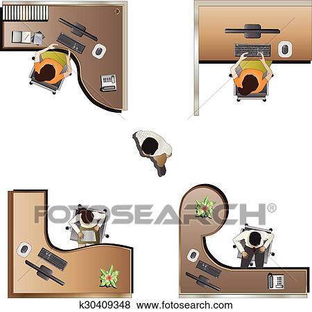 clipart meubles bureau vue dessus ensemble 9. Black Bedroom Furniture Sets. Home Design Ideas
