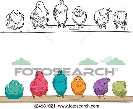 Clipart Oiseaux Perche Sur Branche K24581021 Recherchez Des