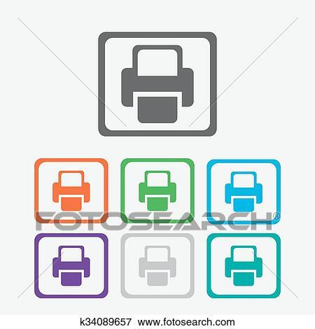 printer vector icon color icon with frame clip art k34089657 fotosearch fotosearch
