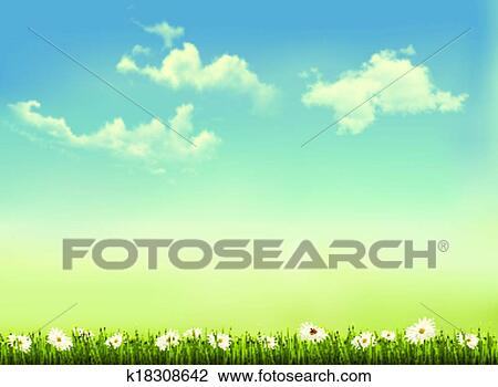 Retro Nature Background With Green Grass And Sky Vector Clipart
