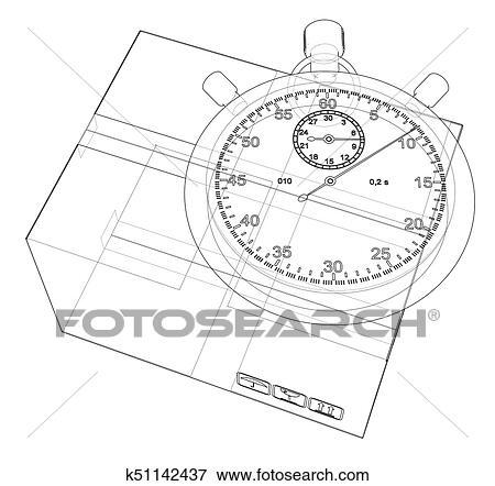 Clip Art Of Stopwatch With Cardboard Box Sketch Vector K51142437