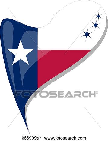 Clip Art Of Texas Flag Button Heart Shape Vector K6690957