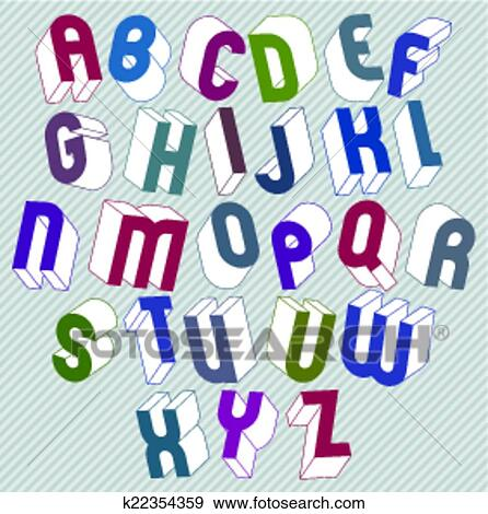 Clip Art Of 3d Font With Good Style Simple Shaped Bold Letters