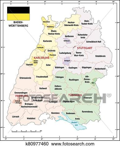 Baden Wuerttemberg State Outline Administrative And Political Map With Flag Clipart K80977460 Fotosearch
