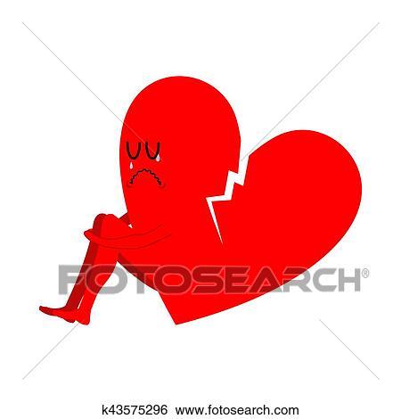 Clip Art Of Broken Heart Symbol Of Unrequited Love Sad Sign Of