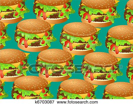 Delicious Double Cheeseburgers Repeated To Create A Wallpaper Background Design