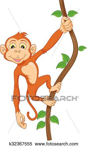 Monkey Hanging From Tree Cartoon Vector Clipart - FriendlyStock