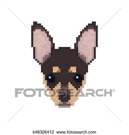 Chihuahua Tête Dans Pixel Art Style Clipart