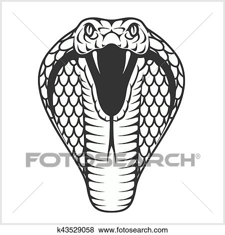 Dessin Cobra clipart - cobra, tête, -, noir blanc, illustration k43529058