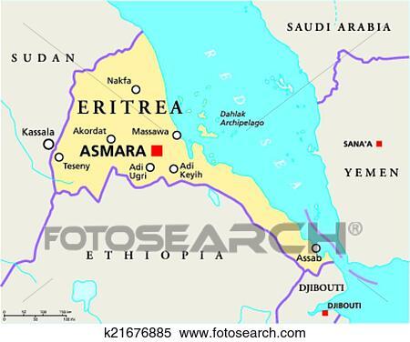Cartina Eritrea.Eritrea Politico Mappa Clipart K21676885 Fotosearch