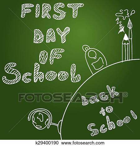 clipart first day of school start of new school year eps 10 vector