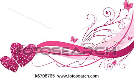 Clipart of floral wave with hearts k6708765 search clip art pink floral wave with hearts and butterflies mightylinksfo