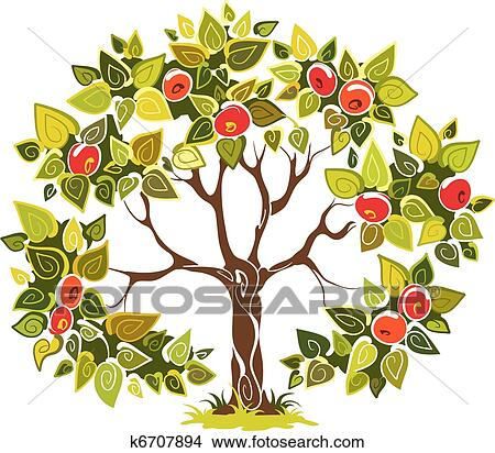clipart of fruitful apple tree k6707894 search clip art rh fotosearch com apple tree clipart clipart apple tree black and white